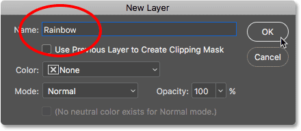 Naming the new layer in the New Layer dialog box. Image © 2016 Photoshop Essentials.com.