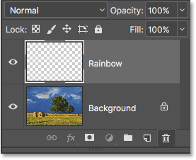 The new Rainbow layer has been added to the document. Image © 2016 Photoshop Essentials.com.