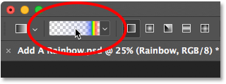 Clicking the gradient preview thumbnail in the Options Bar. Image © 2016 Photoshop Essentials.com.