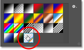 Selecting the Russell's Rainbow gradient in the Gradient Picker. Image © 2016 Photoshop Essentials.com.