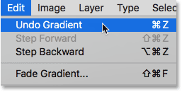 Choosing Undo Gradient from under the Edit menu. Image © 2016 Photoshop Essentials.com.