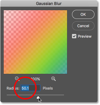 The Gaussian Blur filter dialog box. Image © 2016 Photoshop Essentials.com.