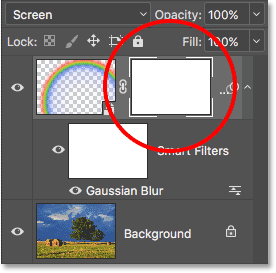 A layer maks thumbnail appears on the Rainbow layer. Image © 2016 Photoshop Essentials.com.