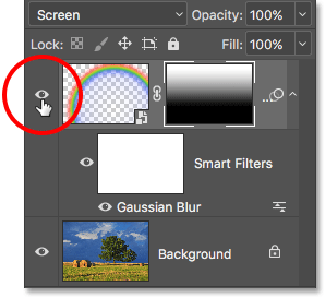 Click the visibility icon to toggle the Rainbow layer on and off. Image © 2016 Photoshop Essentials.com.