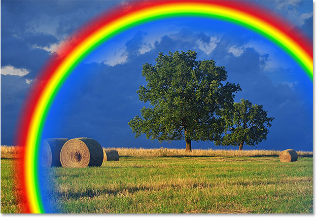 The rainbow now appears at the size and location I wanted. Image © 2016 Photoshop Essentials.com.