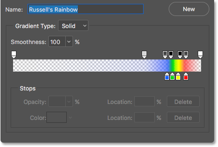 The Gradient Editor showing us what the Russell's Rainbow gradient looks like. Image © 2016 Photoshop Essentials.com.