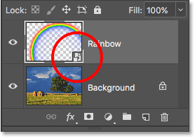 The Layers panel showing the Smart Object icon. Image © 2016 Photoshop Essentials.com.