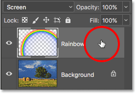 Right-clicking (Win) / Control-clicking (Mac) on the Rainbow layer. Image © 2016 Photoshop Essentials.com.