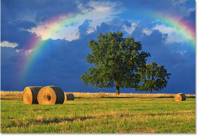 The top of the rainbow disappears, while the bottom also remains hidden. Image © 2016 Photoshop Essentials.com.