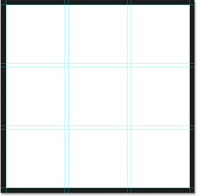 A 3 by 3 grid with a 20 pixel gutter. Image © 2015 Photoshop Essentials.com.