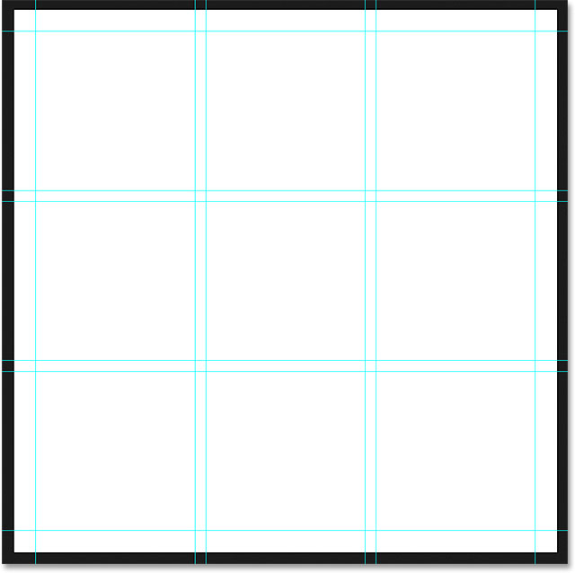 The final guide layout complete with margins. Image © 2015 Photoshop Essentials.com.