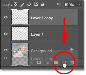 Dragging the top layer onto the New Layer icon.