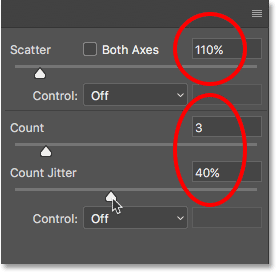 The Scattering brush control options.