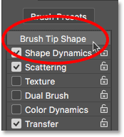 Clicking Brush Tip Shape. Image © 2017 PhotoshopEssentials.com.