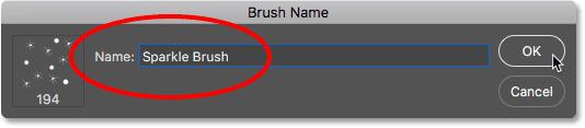 Naming the new brush. Image © 2017 PhotoshopEssentials.com.