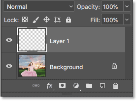 The Layers panel showing the new blank layer above the image.