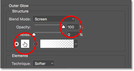 Increasing the opacity to 100 percent, then clicking the color swatch.