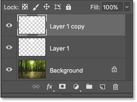 The Layers panel showing three layers now in the document.