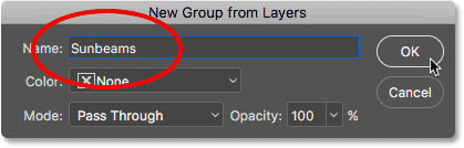 The New Group from Layers dialog box.