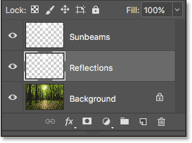 The middle layer has been renamed 'Reflections'.