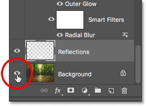 Clicking the Background layer's visibility icon.