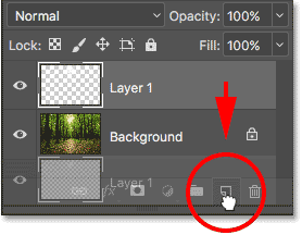 Dragging Layer 1 onto the New Layer icon.
