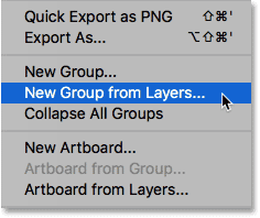 Selecting the New Group from Layers command.