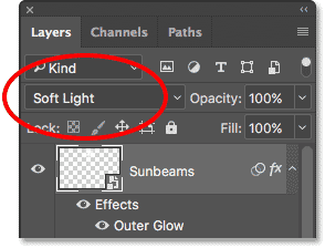 Changing the layer blend mode to Soft Light.