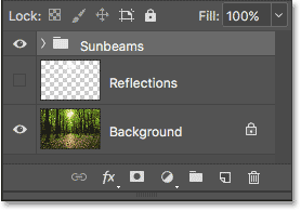 The Layers panel showing the new Sunbeams layer group.