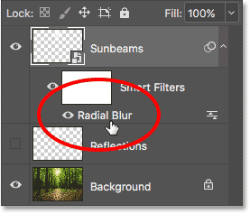 The Layers panel showing the Radial Blur Smart Filter.