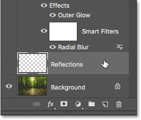Selecting the Reflections layer.
