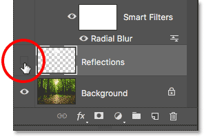 Clicking the Reflections layer visibility icon.