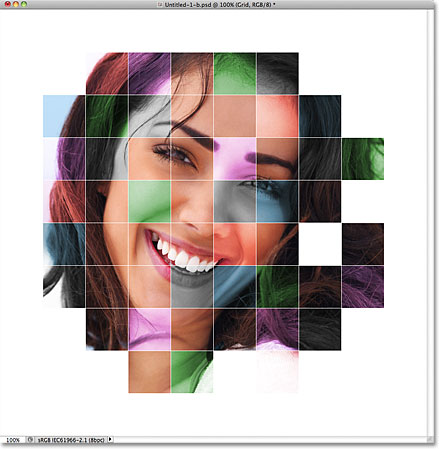 The grid lines on the layer are now white. Image © 2011 Photoshop Essentials.com.