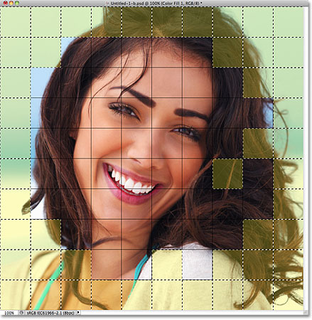 The selected squares are highlighted in yellow. Image © 2011 Photoshop Essentials.com.