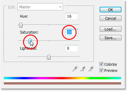Reducing the saturation of the tint color to 20.