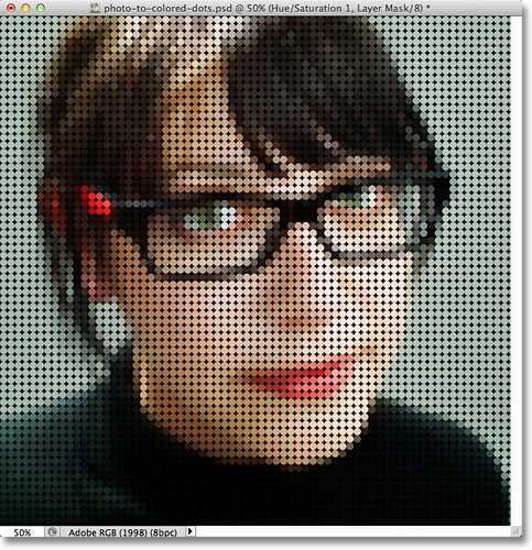 Photoshop photo to colored dots effect. Image © 2011 Photoshop Essentials.