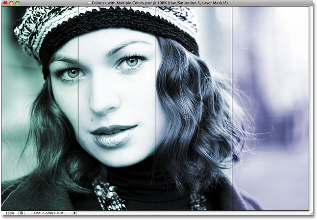 The colors in the image have changed to greens and blues. Image © 2008 Photoshop Essentials.com.