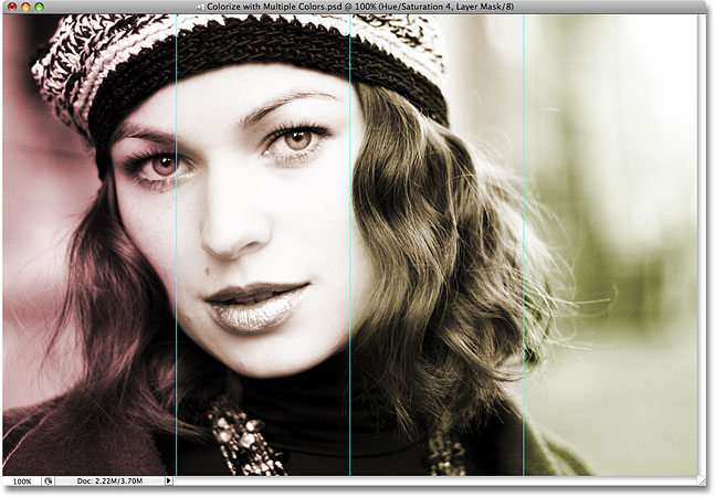 All four sections of the image are now colorized in Photoshop. Image © 2008 Photoshop Essentials.com.