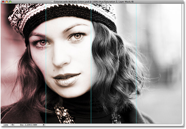 The second section of the photo is now colorized in Photoshop. Image © 2008 Photoshop Essentials.com.