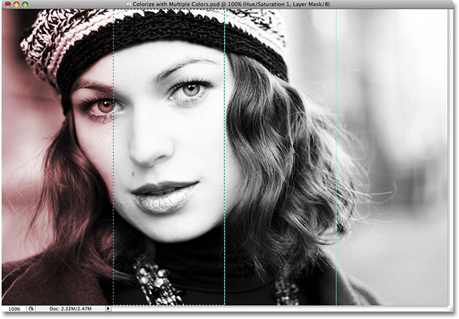 Selecting the second section to colorize in Photoshop.