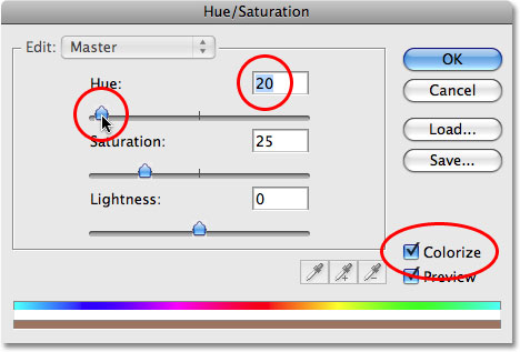 Dragging the Hue slider in the Hue/Saturation dialog box in Photoshop. Image © 2008 Photoshop Essentials.com.