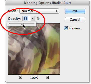 Loweing the opacity of the Radial Blur Smart Filter. Image © 2013 Photoshop Essentials.com