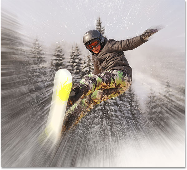 The snowboarder is now visible through the zoom effect. Image © 2013 Photoshop Essentials.com