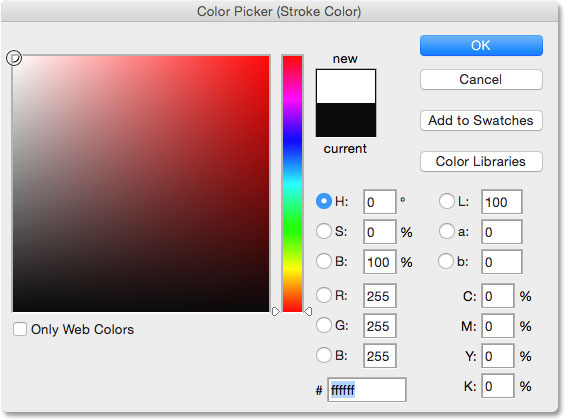 Choosing white in the Color Picker.