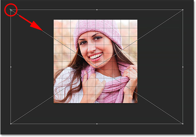Dragging a corner handle to resize the image inside the grid.