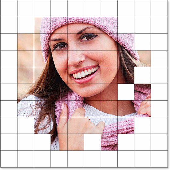 A border of white squares now appears around the photo.