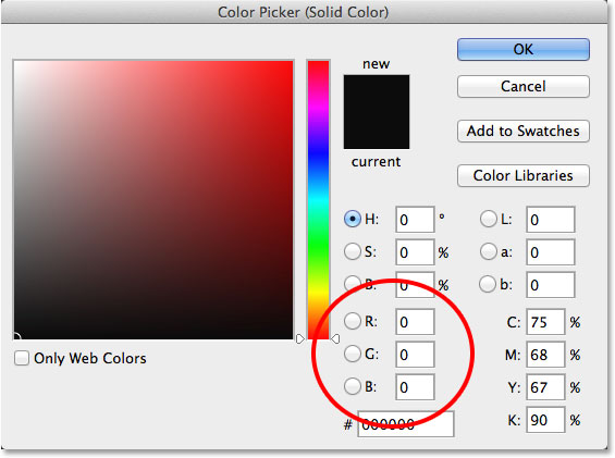 Choosing black from the Color Picker. Image © 2014 Photoshop Essentials.com