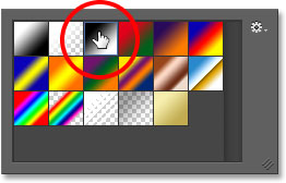 Choosing a gradient from the Gradient Picker in Photoshop. .
