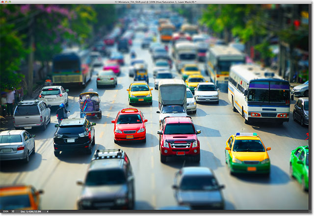 A miniature effect created with the Tilt-Shift filter in Photoshop CS6. Image © 2012 Photoshop Essentials.com