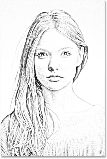 The sketch effect is now darker. Image © 2014 Photoshop Essentials.com